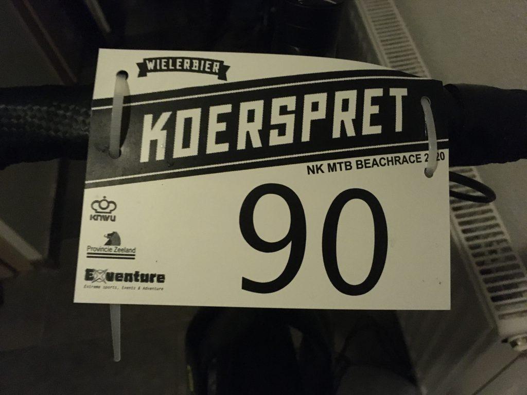Mijn stuurbordje voor deze Koerspret MTB Beachrace